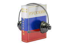 Russian language textbook with headset, learning and translate c Stock Photos