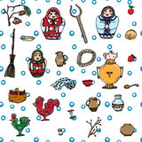 Russian life seamless pattern Royalty Free Stock Photography