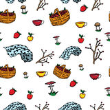 Russian life seamless pattern Stock Images