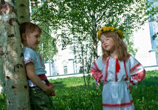 Russian Little boy and girl Royalty Free Stock Photos