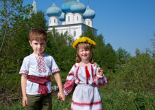 Russian Little boy and girl Stock Photos