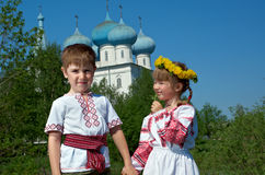 Russian Little boy and girl Royalty Free Stock Photo