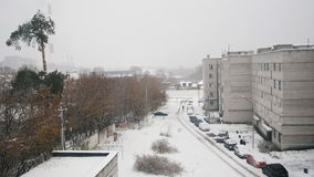 Russian living district - winter snow covered yard industrial landscape stock footage