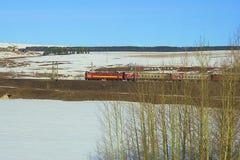 Russian locomotive running Stock Photo