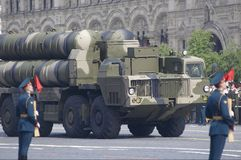 Russian long range missile systems S-300. Russian long range surface-to-air missile systems S-300. Moscow Victory Parade of 2008 Royalty Free Stock Images