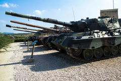 Russian made tanks was captured by IDF on display at Yad La-Shiryon Armored Corps Museum at Latrun. Latrun, Israel royalty free stock images