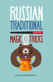 Russian magic trick. National fun in Russia. Instead rabbit bear Stock Photos