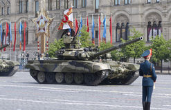 Russian main battle tank T-90. Moscow Victory Parade of 2008 Stock Photo