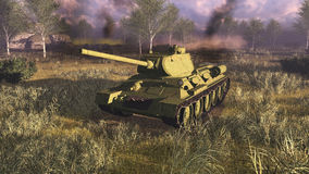 Russian main battle tank T 34 at battlefield. Legendary russian main battle tank T 34 on a battlefield of World War II. Explosions and smoke on a background. 3D Stock Photo