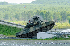 Russian main battle tank T-80 on the ground Royalty Free Stock Photography