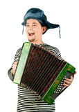 Russian man with accordion. Stock Images