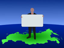 Russian man with blank sign Royalty Free Stock Images