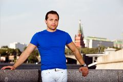 Russian man standing on the streets. Of Moscow Royalty Free Stock Photos