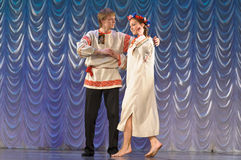 Russian man and woman in national costume Royalty Free Stock Images