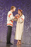 Russian man and woman in national costume Royalty Free Stock Photos