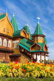Russian mansion. Architectural details of the wooden residence of Russian Tsars in Kolomenskoye, Moscow, Russia Stock Photo