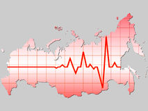 Russian map. With heart pulse pattern Royalty Free Stock Image