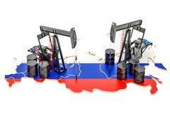 Russian map with oil barrels and pumpjacks. Oil production. Concept. 3D royalty free illustration