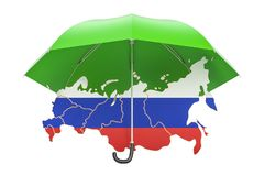 Russian map under umbrella. Security and protect or insurance co Stock Photography