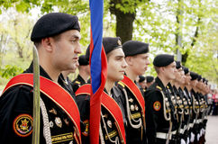 Russian marines at the parade on victory day Stock Photos