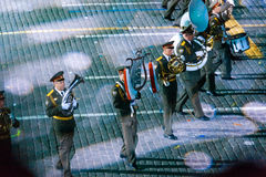 The Russian Massed military band of the National Guard at the Red Square. MOSCOW, RUSSIA - AUGUST 26, 2016: Spasskaya Tower international military music festival Stock Photo