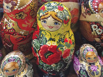 Russian matreshka doll souvenir. Russian matreshka wooden carved doll in souvenir shop. Moscow, March 2017 Stock Photos