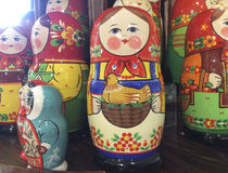 Russian matreshka doll souvenir. Russian matreshka wooden carved doll in souvenir shop. Moscow, March 2017 Royalty Free Stock Photography