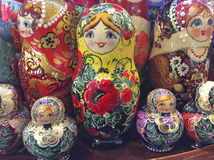 Russian matreshka doll souvenir. Russian matreshka wooden carved doll in souvenir shop. Moscow, March 2017 Stock Photo