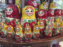 Russian matreshka doll souvenir. Russian matreshka wooden carved doll in souvenir shop. Moscow, March 2017 Royalty Free Stock Images
