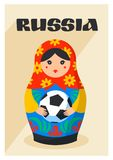 Russian Matrioshka. Greeting card with Russia symbol with soccer ball and text Russia. Vector traditional russian. Nesting doll with football ball. Matroska Royalty Free Stock Image