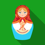 Russian matrioshka icon in flat style  on white background. Russian country symbol stock vector illustration. Stock Photo