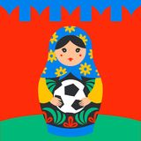 Russian Matrioshka. Russia symbol with soccer ball and kremlin wall on background. Vector traditional russian nesting. Doll with football ball. Matroska icon Royalty Free Stock Photo