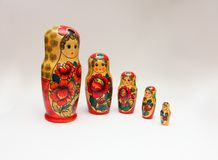 Russian Matroska Doll Family: Retro series pos. 01 Royalty Free Stock Images