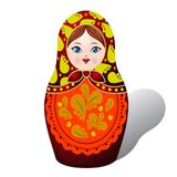 Russian matryoshka, Decolorized autumn leaves, cartoon on white Royalty Free Stock Photo
