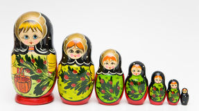 Russian matryoshka doll. On white background Royalty Free Stock Images