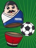 Russian Matryoshka Doll with Mustache like Soccer Player and Ball, Vector Illustration. Funny male matryoshka doll with mustache like soccer player representing Royalty Free Stock Images