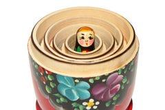 Russian matryoshka doll on white background. Beautiful Russian nesting doll on white background Royalty Free Stock Photography