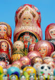 Russian matryoshka dolls. Lined up Royalty Free Stock Images