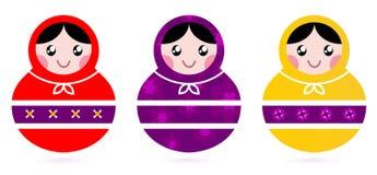 Russian Matryoshka Dolls collection. Cute colorful Russian Dolls. Vector Illustration Stock Photo