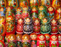 Russian Matryoshka Dolls. Matryoshka dolls on display in a Russian market Stock Image