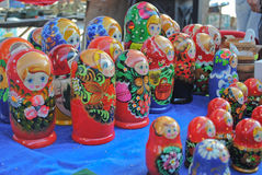 Russian matryoshka dolls. On a market in Chelyabinsk stock image