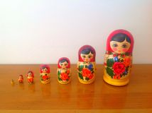 Russian Matryoshka nested doll. From Moscow on the wooden table Royalty Free Stock Photography