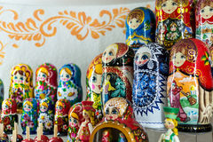 Russian Matryoshka Nesting Dolls. Close-up image of many Russian Matryoshka nesting dolls. The famous Russian souvenir uses bright vibrant hand painted paints on Stock Image