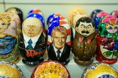 Russian matryoshkas with Putin, Tramp and Stalin faces Royalty Free Stock Image