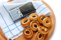 Russian meal and phone Stock Photography
