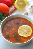 Russian meat soup Solyanka. Plate with Solyanka - Russian national cuisine dish meat broth Royalty Free Stock Photos