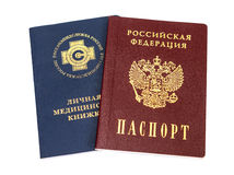Russian medical book and passport Royalty Free Stock Photos