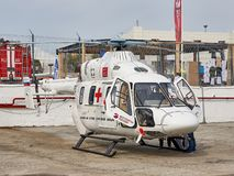 Russian medical helicopter Ansat is demonstrated at the exhibition area on the Black Sea coast in the parking. royalty free stock photos