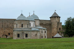Russian medieval castle in Ivangorod. Located on the border with Estonia, not far from St. Petersburg. The photo shows the ancient Royalty Free Stock Photos