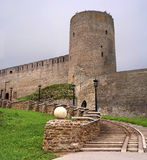 Russian medieval castle in Ivangorod. Located on the border with Estonia, not far from St. Petersburg. The photo shows the entranc Stock Photos